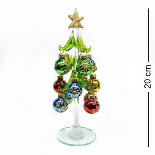 GLT10050  (1-36) Елка стекл. с 12-ю шарами 2,5 см 20см