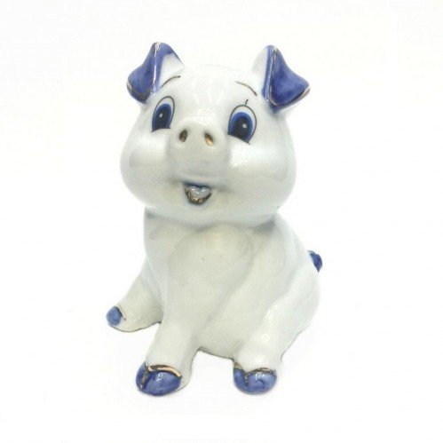 HEN27167  (1-96) Фигурка Свинка, фарфор 8*8*10см