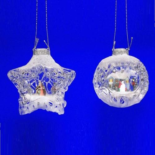 AK8327  (2-48) Подвеска шар новогодний 2в.7.5*5.5*8 см