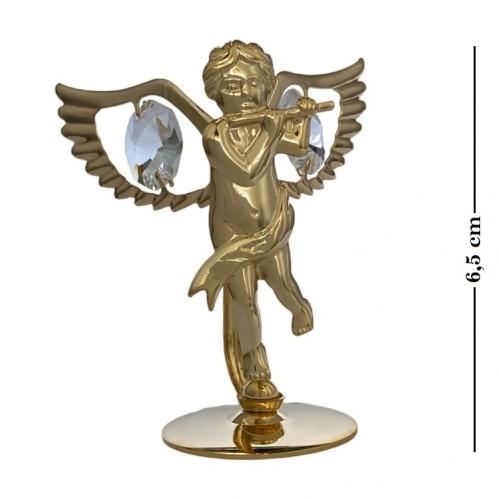 Swarovski  3546  Фигурка  Ангел с флейтой с 2 хрусталиками, позолоченная 7*3,2*6,5см