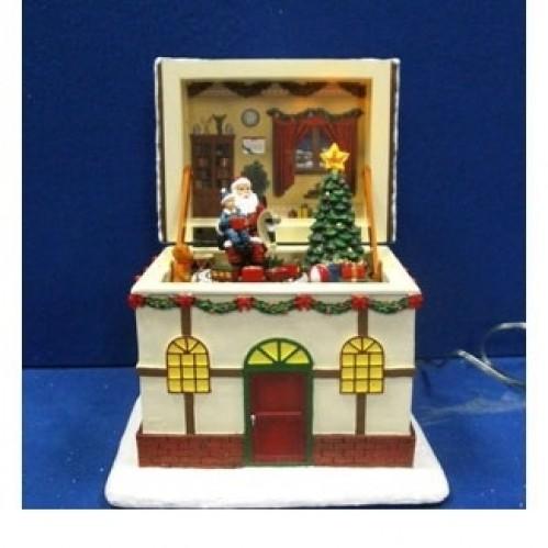 AK8450  (1-8) Новогодний домик со светом,музыкой и движением (открывается) 17*14*18см