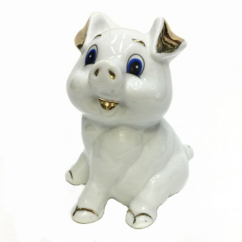 HEN27136  (1-96) Фигурка Свинка, фарфор 8*8*10см