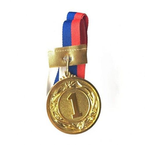 Медаль наградная с лентой d-53 мм золото