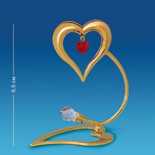 Swarovski  4047/GR  Фигурка Сердце-держатель для визиток,с красным и прозрач. хр. позолоченное 8*4,5*9см