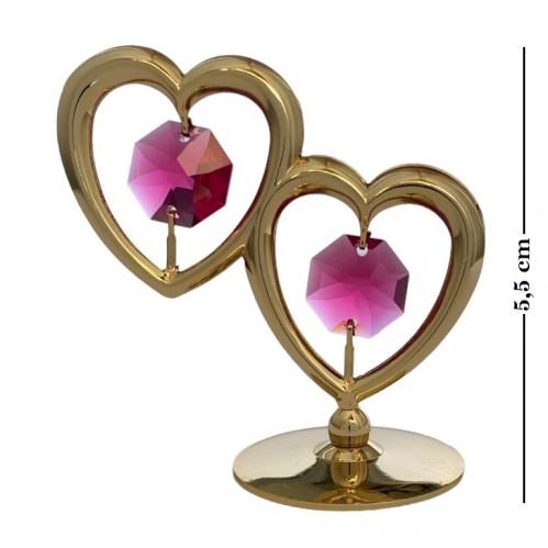 Swarovski  3548/GR  Фигурка  Два сердца на подставке, с красными кристаллами.6*3,2*5,5см