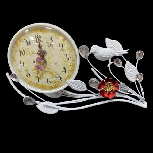 MML16002  (1-48) Часы металлические белые с птичкой 33*12*16см