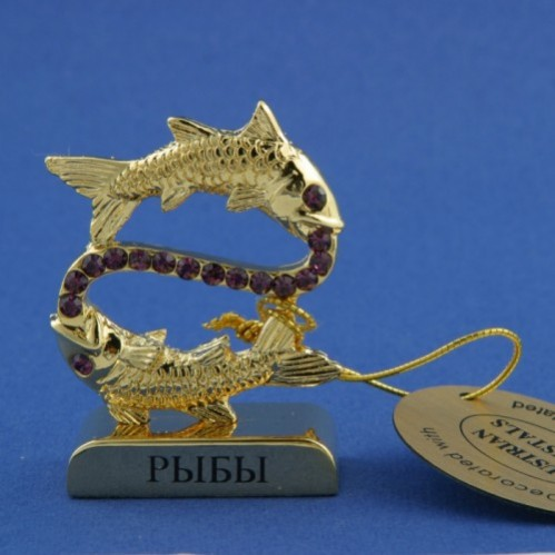 Swarovski  3763/G- 3  Фигурка знак зодиака Рыбы с хрусталиками  4,5см