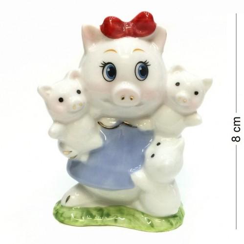 DIN3106  (1-108) Фигурка Свинка с поросятами, фарфор 8*5*10см