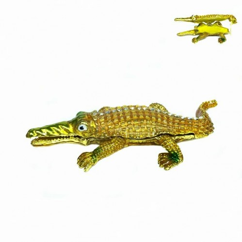Шкатулка со стразами крокодил 2867 металлическая 13см