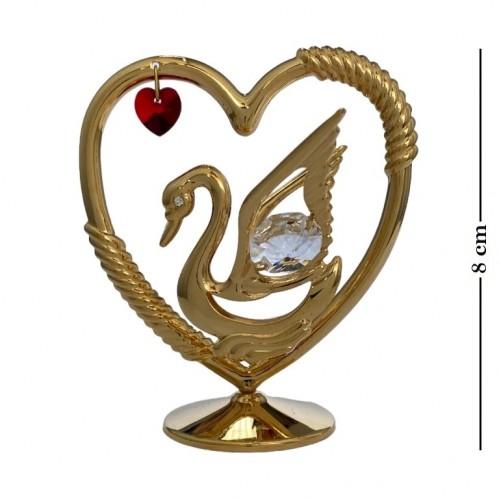 Swarovski  3418/GR1  Фигурка Лебедь с сердцем с  красным и белыми кристаллами. 8*6*8см