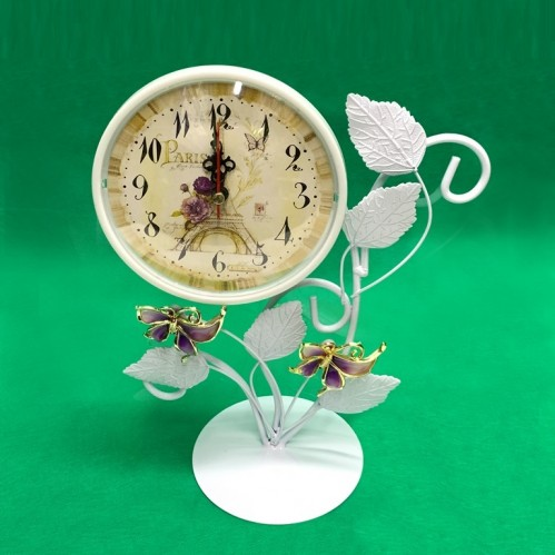 MML15993  (1-36) Часы металлические белые с бабочками 20*12*37см