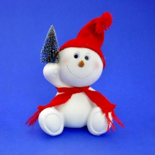 LR-1418  (16) Снеговик в шапке и шарфе 14*10*20см