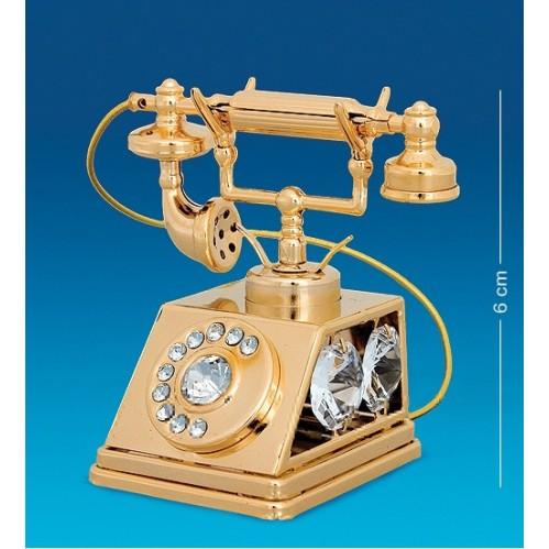Swarovski  3462  Фигурка  Телефон с 5 прозрачными хрусталиками, позолоченный 6*5*6см.