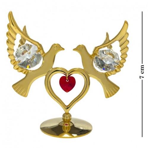 Swarovski  3674/GR  Фигурка  Голуби с сердцем на подставке с 1красн и 4прозрач. хрусталиками, позолоченные 6,7*3,5*6см
