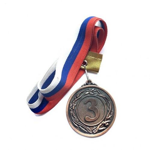 Медаль наградная с лентой d-53мм бронза