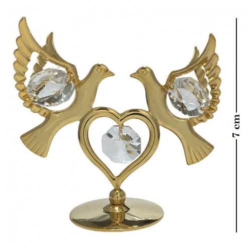 Swarovski  3674  Фигурка Голуби с сердцем на подставке с 5 хрусталиками, позолоченные 6,7*3,5*6см.