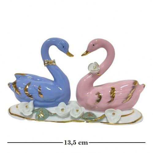 11041  (100)  Фигурка  Пара лебедей голубой и розовый, L=13,5см