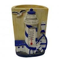 021022  (1-72) Фигурка Маяк - карандашница с термометром 6*6*8см