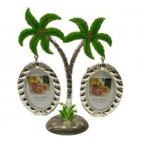 2-2 (24) Фоторамка дерево-Пальмы на 2 фото, металл 16*20см