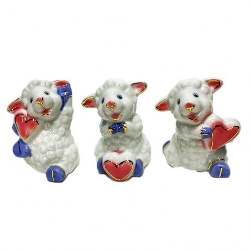 H4841-1  (6-240) Овечка с сердцем, 3вида 6*7см