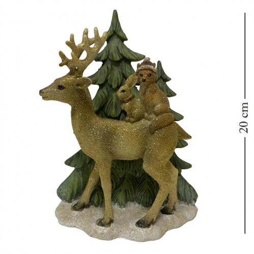 KEN78355  (1-12) Олень с ёлкой и зверятами 15*7*20см