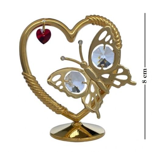 Swarovski  3414/GR1  Фигурка Сердце с бабочкой с красным и белыми кристаллами . 9*4*8см