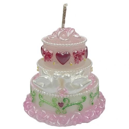 002005  (1-48) Свеча  свадебная-торт 7*7см