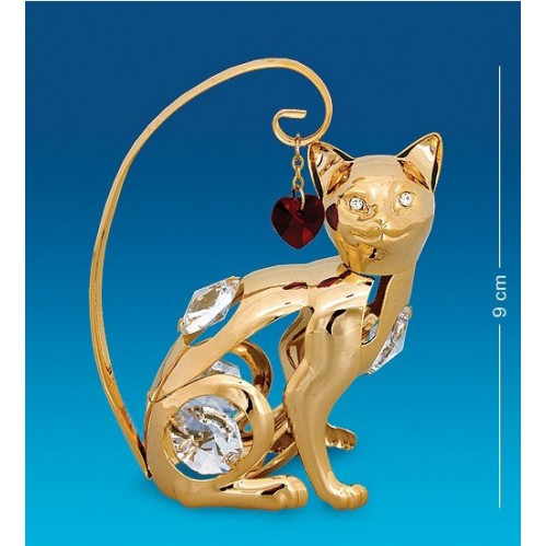 Swarovski      21  Фигурка  Кошка с сердцем с кристаллами.