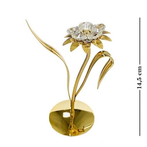 Swarovski  4311 Фигурка Цветок с 5-ю прозрачными хрусталиками, позолоченный 8*6*14,5см