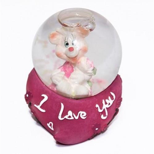 76-45816  Стеклянный шар с мышкой, на подставке 4*6см