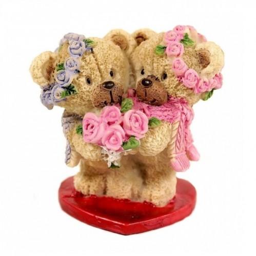 PLA17405  (12-216) Фигурка Пара медвежат на сердце 6*4*6см