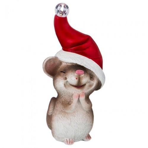 146-1179  Мышка с шапкой со светом 6*8*17,5 см.