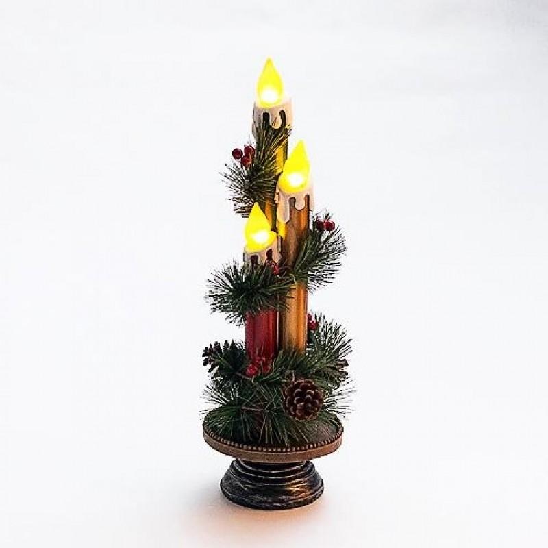 PA-20406  (1-4) Три свечи со светодиодами 13*13*40см