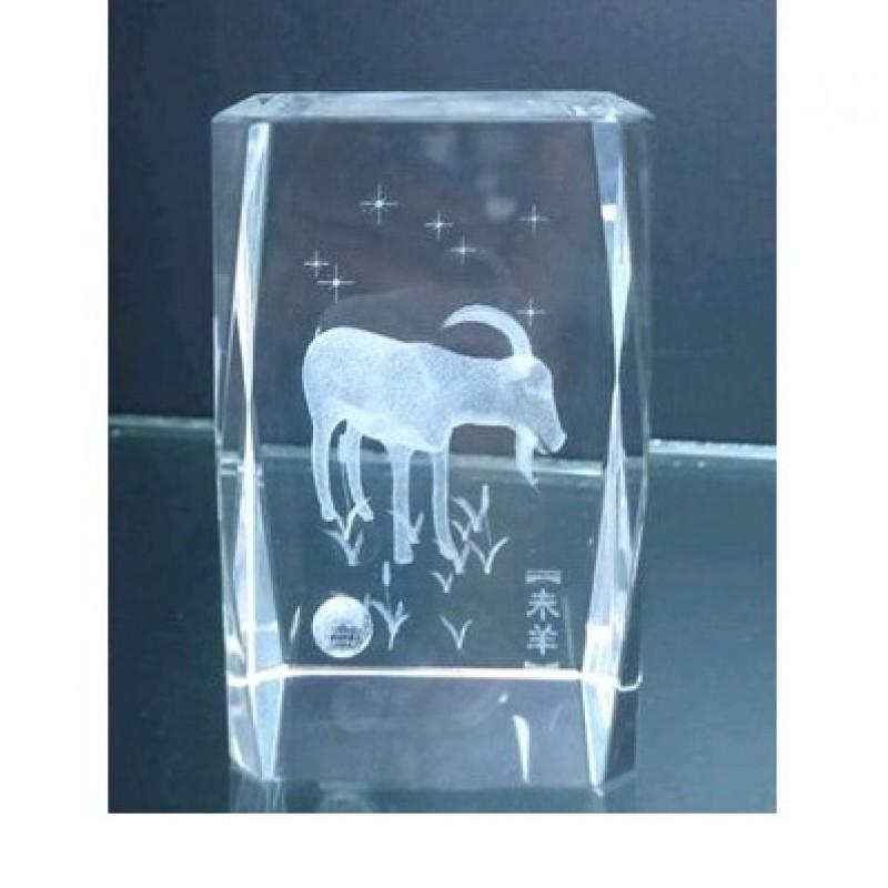 MML14141  (60) Козёл голограмма стекло 4*4*6см