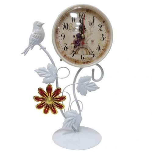 MML16001  (1-36) Часы металлические белые с птичкой и цветком 16*10*29см