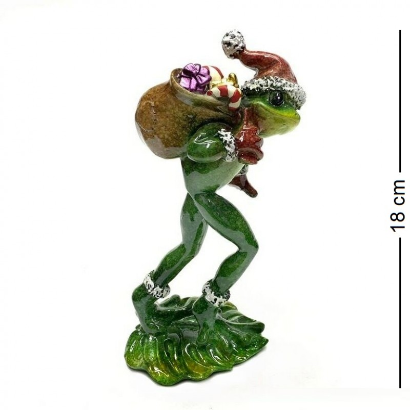 049036  (1-16) Фигурка Лягушка Дед Мороз, 12*11*18см