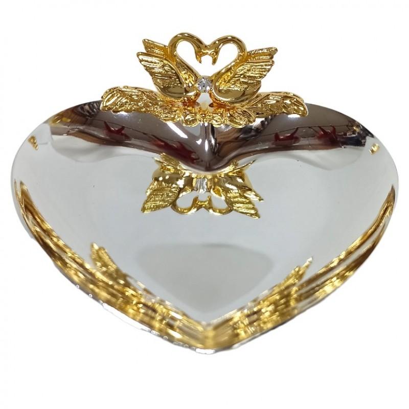 Swarovski 1156 Блюдце для колец сердце с лебедями 10см