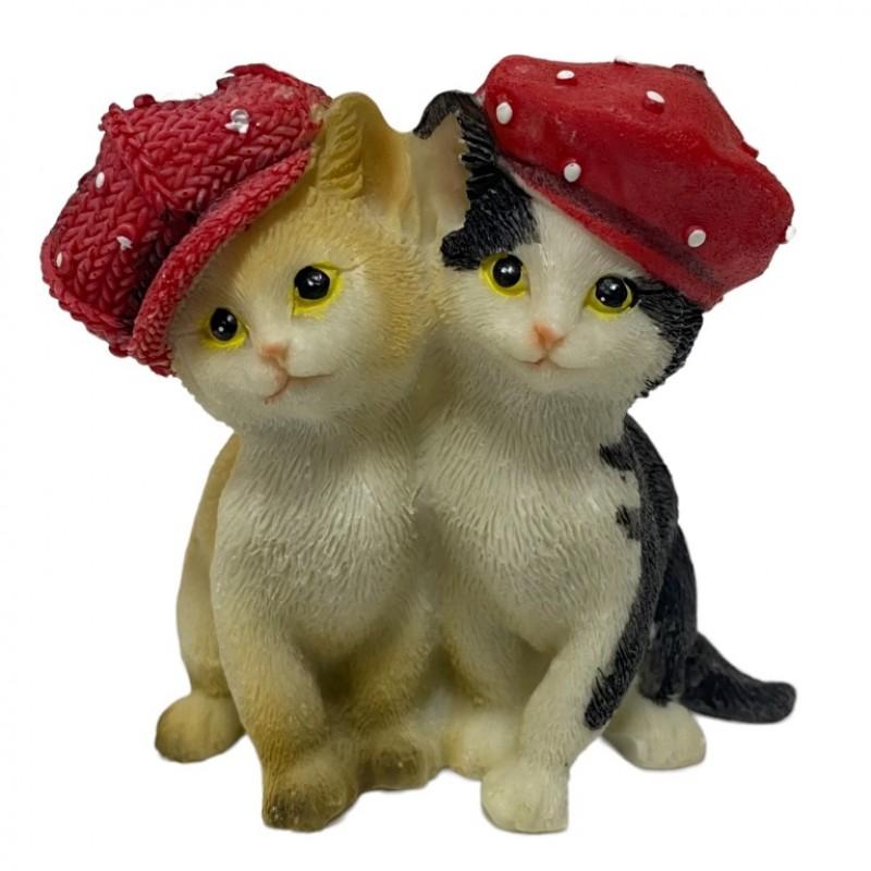 KEN78721  (4-96) Кошки в кепках 8*6*8.5см