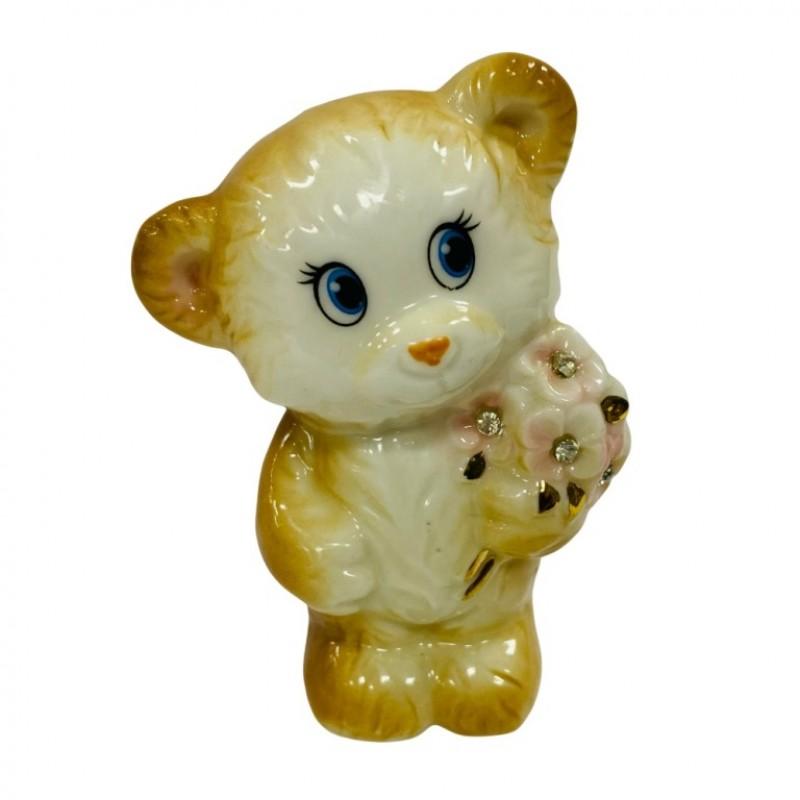 DIN2617  (1-144) Фигурка Мишка с букетом 6.5*5*9.5см