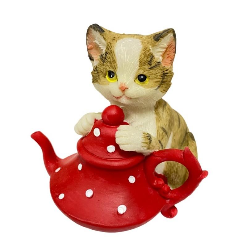 KEN78700  (4-96) Кошка с чайником 7.5*7*8см
