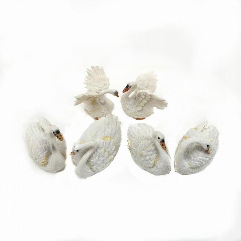 L-FK10467  (12-144) Фигурка Лебедь белый 6 видов, 3*5*5см