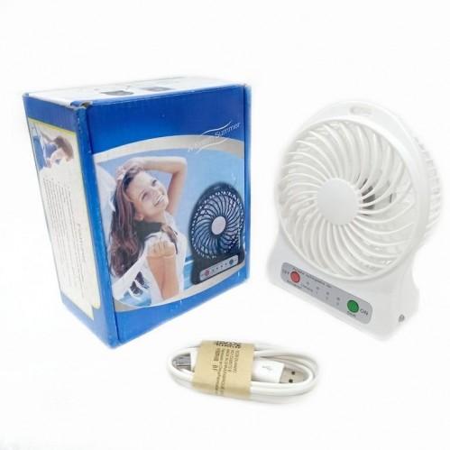 Вентилятор настольный на аккумуляторе F002 Usb. Белый 11*4*14см