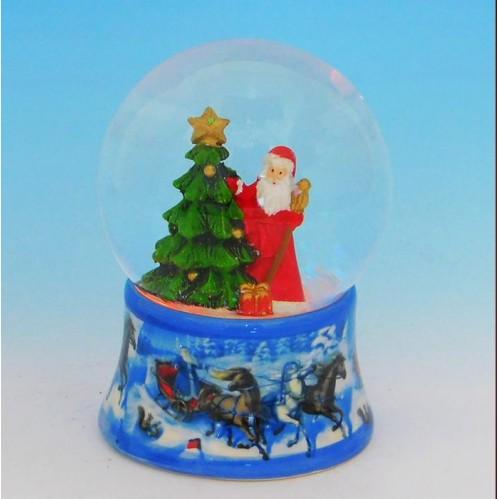 HY-15738 (16) Стеклянный шар с Дедом Морозом, на фарфоровой подставке со светодиодами D=8см, H=11см