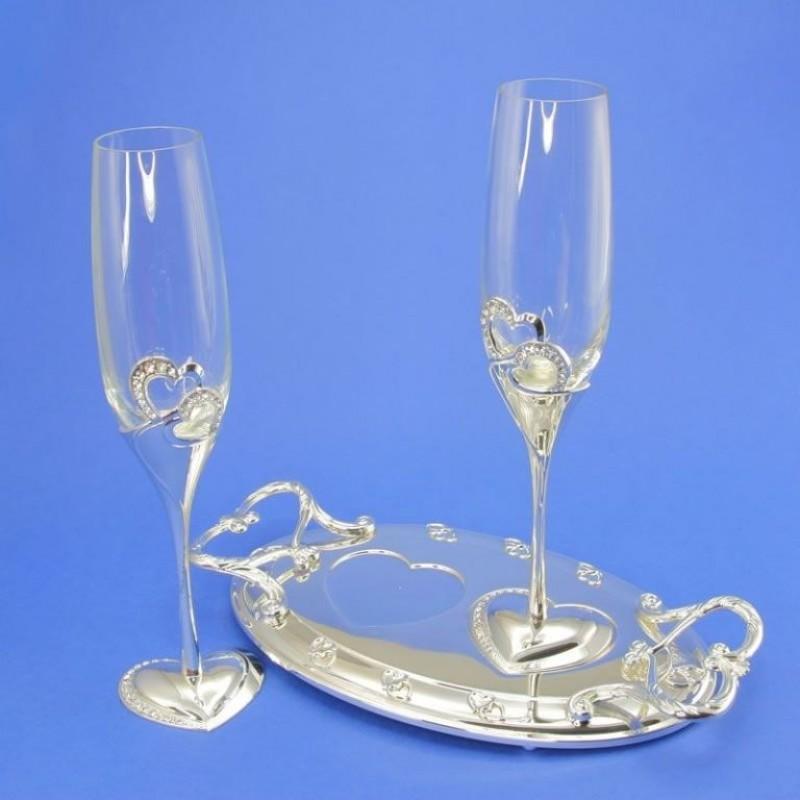 1/SL  (8) Бокалы свадебные на подносе, серебро.