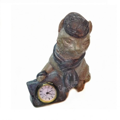ACL13002  (1-8) Фигура Кот с часами, 14*8*15см