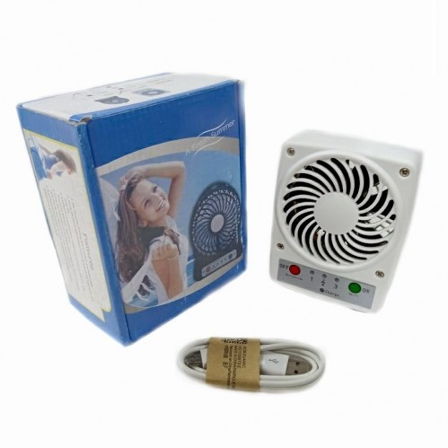 Вентилятор портативный на аккумуляторе F001 Usb. Белый 9*3,5*11,5см