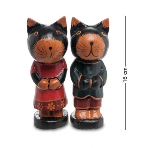 28-021 Фигурка Кот и Кошка дерево 2шт/наб (албезия, о.Бали)