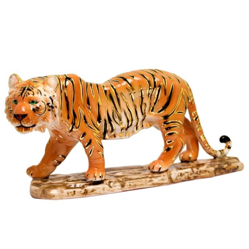 D-110114  (16) Фигурка Тигр на подставке, фарфор 11*24см