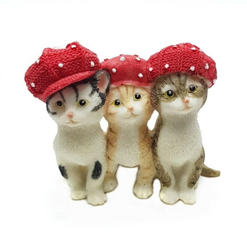 KEN78722  (4-36) Кошки в кепках 10.5*6.5*8.5см