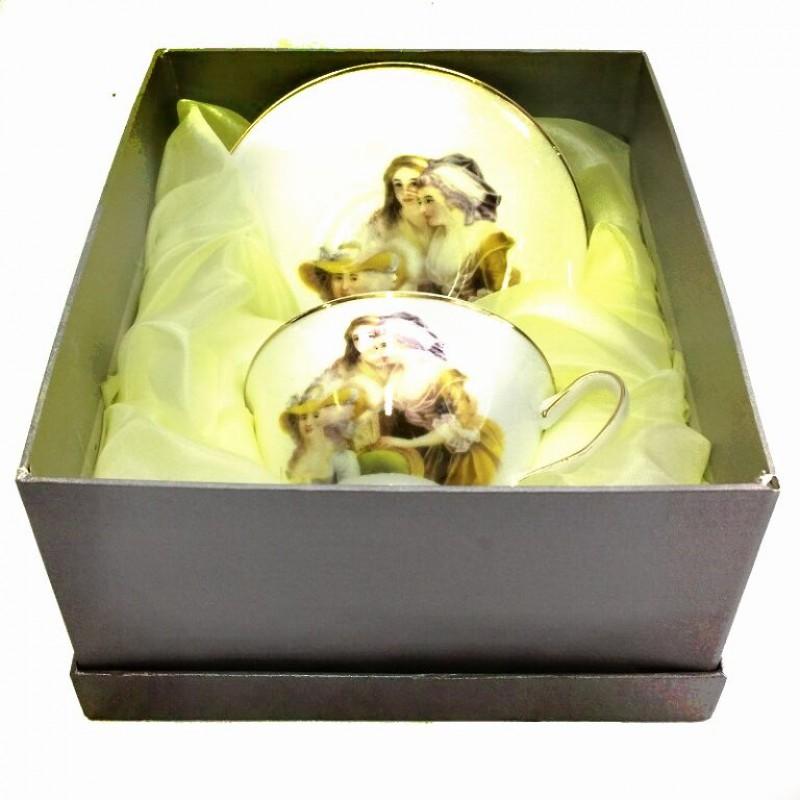 1605  (24) Чашка с блюдцем, 160 ml. фарфор,в подарочной упаковке.
